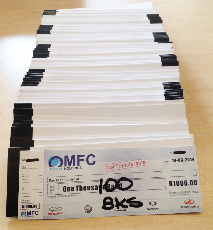 promotional cheque books